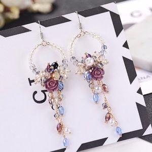 Crystal and Bead Flower Drop Earrings